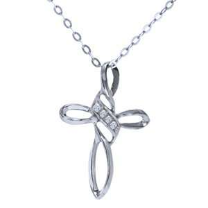 10k White Gold, Diamond Cross Pendant with Chain   16 inches Jewelry