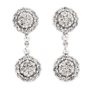 14K White Gold and Diamond Drop Earrings, 1.10ctw Jewelry