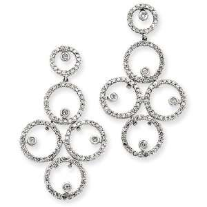14k White Gold Diamond Circles Earrings Diamond quality A (I2 clarity