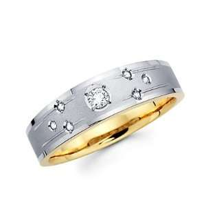 Diamond 14k White n Yellow Gold Mens Wedding Ring Band (G H Color, SI2
