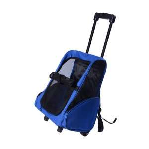 Deluxe Pet / Dog Carrier Backpack w/ Wheels   Blue Pet