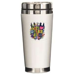 Ceramic Travel Drink Mug Love Peace Joy Peace Symbol Sign