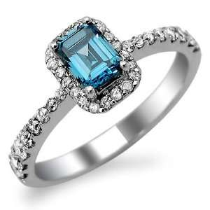 1.0ct Emerald Cut Blue Diamond Engagement Ring 14k White