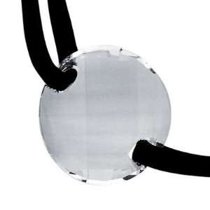 Sterling Silver Facet Clear Crystal Disc Leather String Cord Necklace