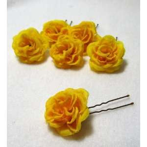 Small Yellow Rose Flower Hair Pins   Set of 6