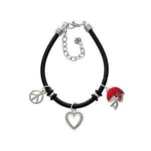 Small Red Football Helmet Black Peace Love Charm Bracelet