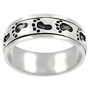 Sterling Silver Footprint Spinner Ring: Jewelry