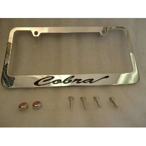 Ford Mustang Cobra Chrome Metal License Plate Frame with