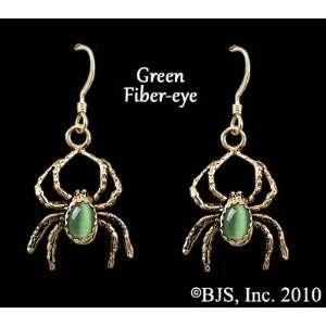 14k Yellow Gold, Green set gemstone, Spider Animal Jewelry, 14 k gold