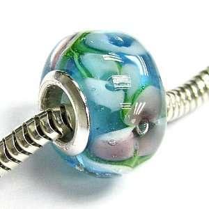 Round Murano Flower Light Blue Glass Bead For European Charm Bracelets