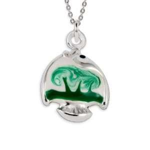 .925 Sterling Silver Green White Enamel Fish Pendant Jewelry