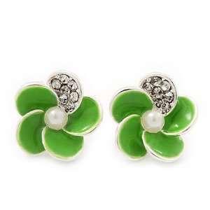Small Lime Green Enamel Diamante Flower Stud Earrings In