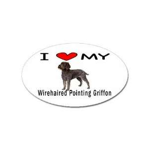 Love My Wirehaired Pointing Griffon Oval Magnet: Office Products