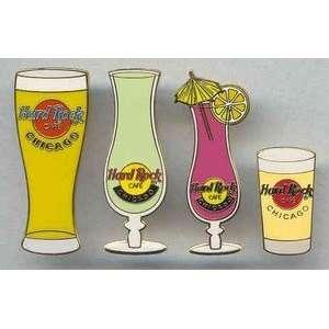 Hard Rock Cafe Pin Set 1813 2001 Chicago Bar Glass Set