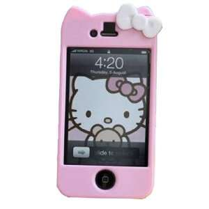 4s 4g 3d Pink Hello Kitty Skin Design Cell Phones & Accessories