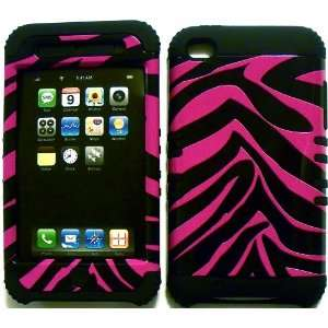 Hot Pink Zebra on Black Silicone for Apple ipod Touch