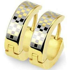 Gold Plated Stainless Steel Huggie Earrings with Checkered