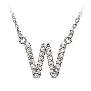 Diamond Initial Necklace in 14 Karat White Gold, Letter W