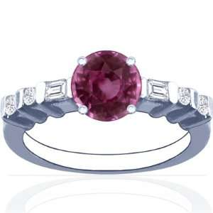 14K White Gold Round Cut Pink Sapphire Ring With Sidestones Jewelry