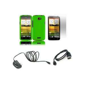 One X (AT&T) Premium Combo Pack   Neon Green Hard Shield Case Cover