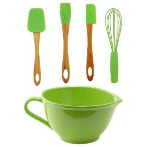 Green Batter Bowl w/Utensil Set