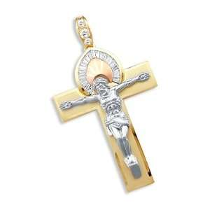 14k Yellow Tri Color Gold Cross Crucifix Pendant LARGE Jewelry