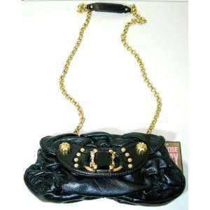 Juicy Couture Minnie Ruched Leather Bag (Black/ Gold tone Chain Strap