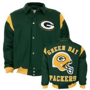 Green Bay Packers Team Color Wool Varsity Jacket Sports & Outdoors