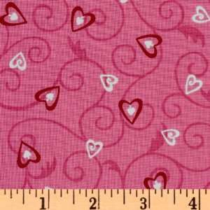 Forever Heart Lockets Pink Fabric By The Yard Arts, Crafts & Sewing