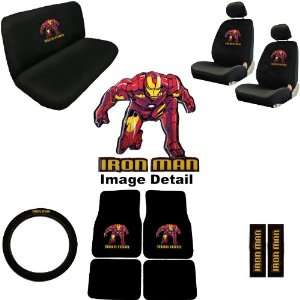 15pc Iron Man Marvel Comics Superhero Low Back Seat Covers