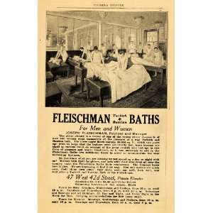 Ad Fleischman Russian Bathhouse Health Spa Massage   Original Print Ad