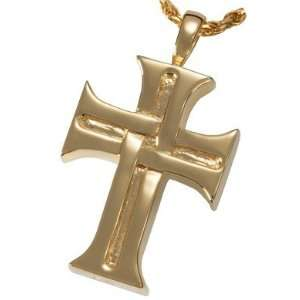 Gold Cremation Jewelry Mens Cross