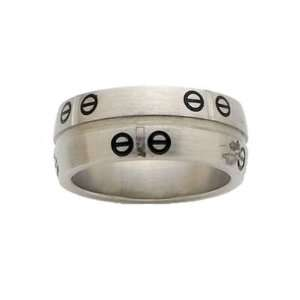 Mens Stainless Steel Black Circle Band Ring Jewelry