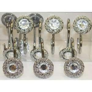 Mineral Chrome Set of 12 Shower Hooks: Home & Kitchen