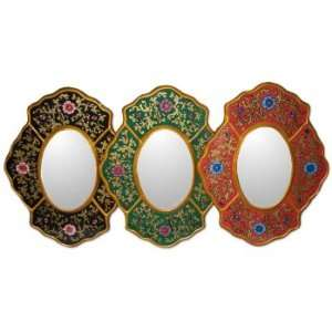 Painted glass mirrors, Floral Garden (set of 3)
