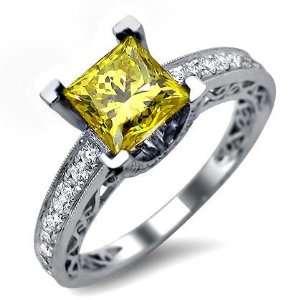 1.83ct Princess Cut Canary Yellow Diamond Engagement Ring
