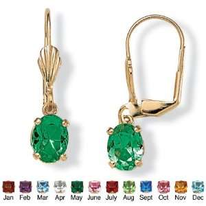Gold Plated Sim. Birthstone Pierced Earrings  May  Simulated Emerald
