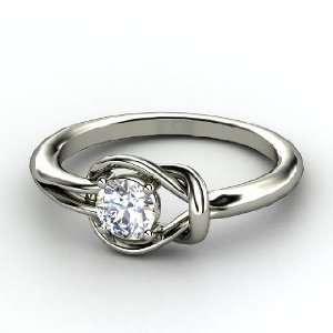 Hercules Knot Ring, Round Diamond Platinum Ring Jewelry