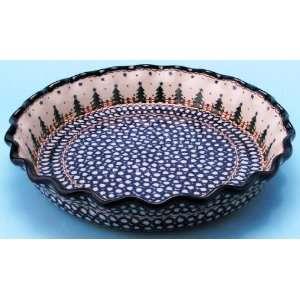 Polish Pottery Ruffled Pie Plate 2 1/4 H x 10 1/4 Diameter