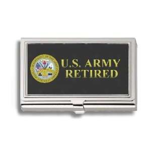US Army Retired Business Card Holder Metal Case: Office Products