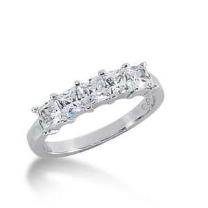 com 14K Gold Diamond Anniversary Wedding Ring 5 Princess Cut Diamonds
