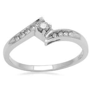 10K White Gold Diamond Bypass Promise Ring (1/8 cttw, I J Color, I2 I3