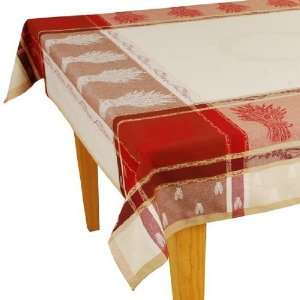 Red/Natural Jacquard Woven Cotton Tablecloth 63 x 118
