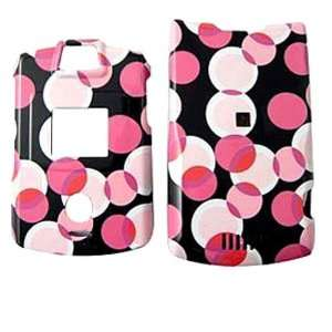 Snap on Protective Cover   Pink Black Dots Cell Phones & Accessories
