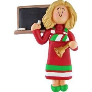 Blonde Teacher in Red Dress Christmas Ornament Sports