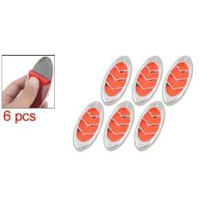 Silver Tone Orange Red 6 Pcs Rhinestone Decor Plastic Car Vent Sticker