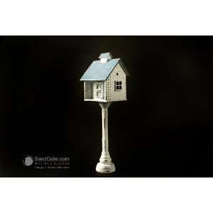 Mini Decorative Pedestal Blue Roof Bird House Patio, Lawn & Garden