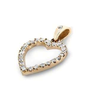 14k Rose Gold Round Cut Diamond Heart Pendant ( .45 CTW) Jewelry