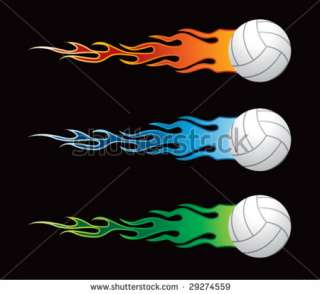 Flying Flaming Volleyballs Stock Vector 29274559 : Shutterstock