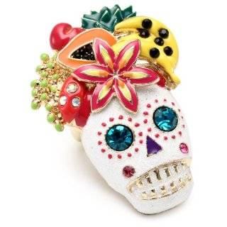 Betsey Johnson Rio Skull Multi Charm Wide Toggle Bracelet Jewelry